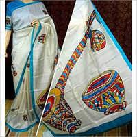 Designer Murshidabad Silk Hand Painted Saree