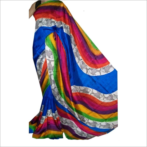 Stylish  Bishnupuri Silk Block Printed Saree