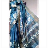Designer Hand Block Printed Murshidabad Silk Saree