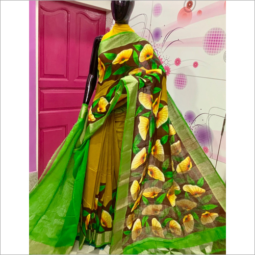 Designer Bafta Silk Hand Painted Saree