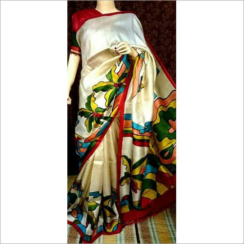 Stylish Bishnupuri Silk Block Hand Printed Saree