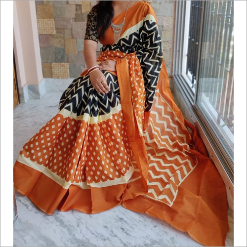 Stylish Cotton Mulmul Printed Saree