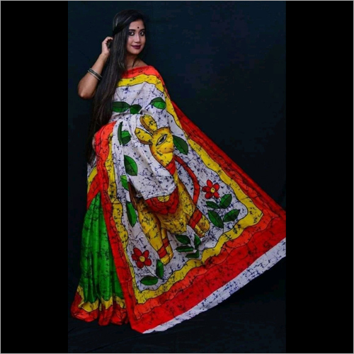 Designer Cotton Mulmul Mom Chitra Batik Print Saree