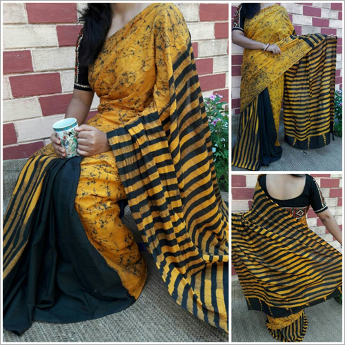 Cotton Mulmul Hand Batik Printed Saree