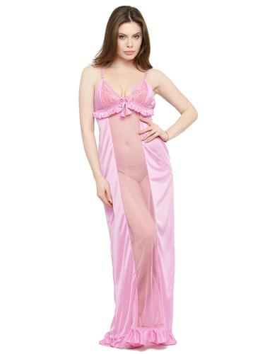 Women Satin Lace Long Nighty Night Gown Night Dress Nightwear