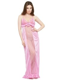 Women Satin Lace Long Nighty Night Gown Night Dress Nightwear