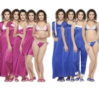 Combo Pack Of 8 Pcs Satin Spandex Lace Soft Nighty Lingerie Nightwear Set