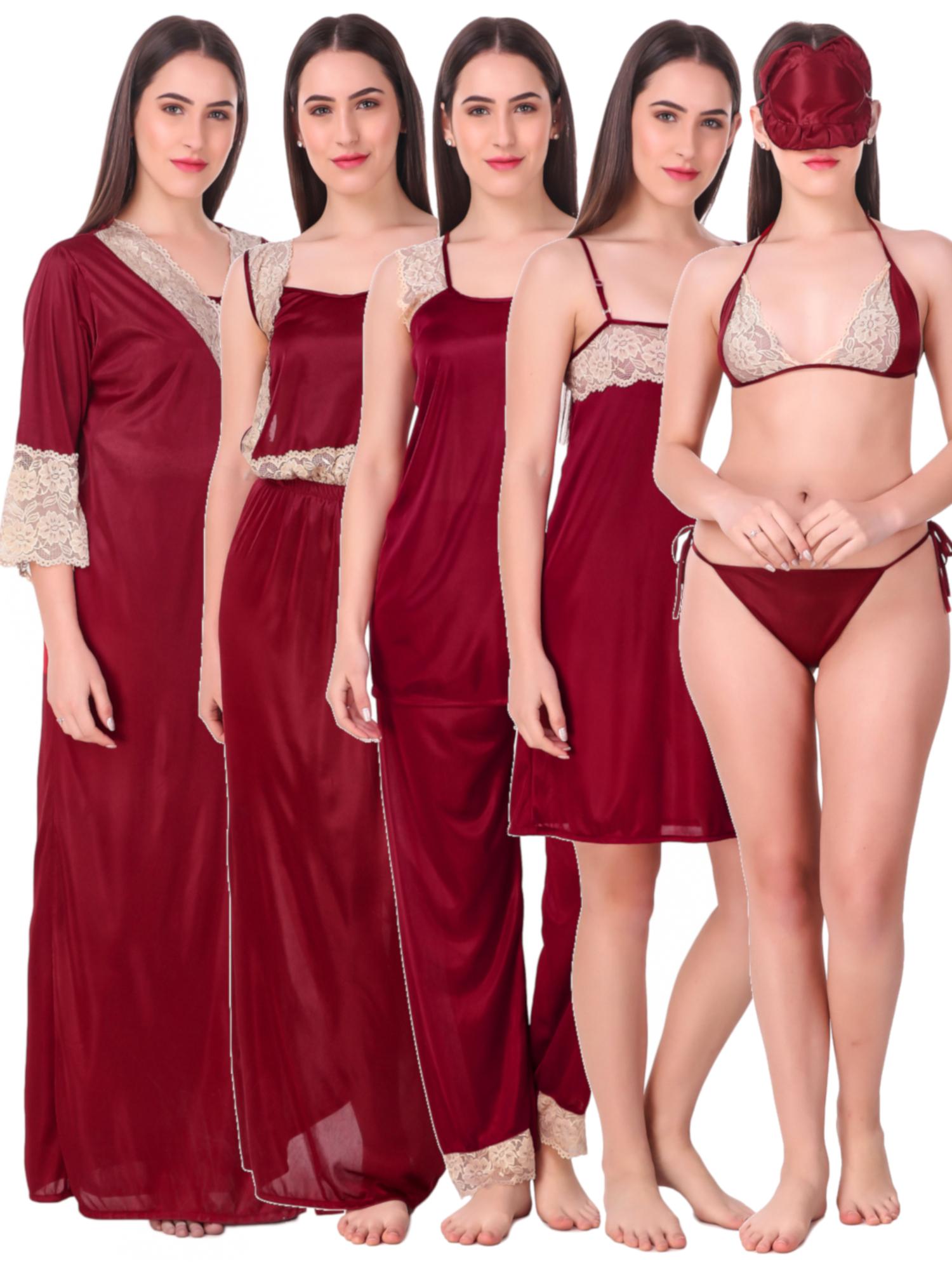 Combo Pack Of 8 Pcs Satin Spandex Lace Soft Nighty Lingerie Nightwear Set