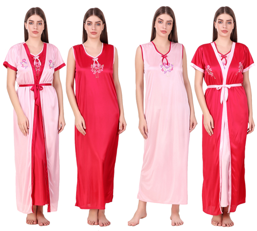 Combo Pack Of 2 Pcs Satin Spandex Nighty Robe Nightwear Set