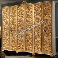 Open Door Wooden Antique Carved Almirah