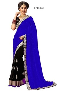 Simple Embroidered and Embellished Georgette saree