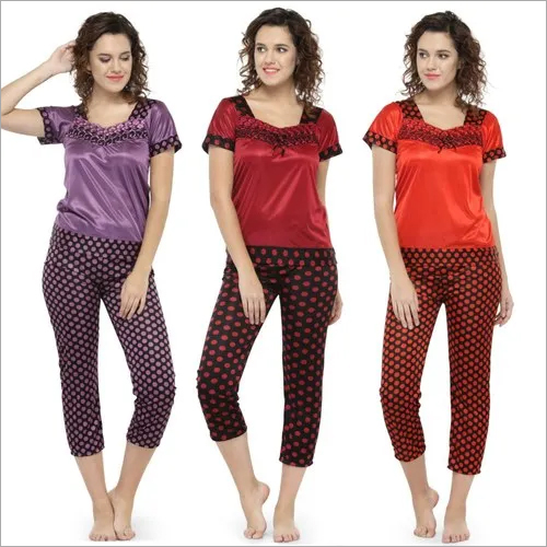 Short Sleeves Polka Dot Print & Satin Top Pyjama Set Loungewear Nightwear