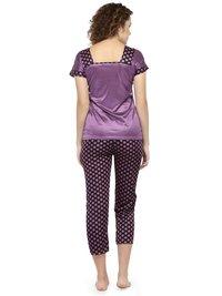Short Sleeves Polka Dot Print & Satin Top Pyjama Set Loungewear Nightwear