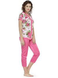 Short Sleeves Floral Print & Satin Top Pyjama Set Loungewear Nightwear