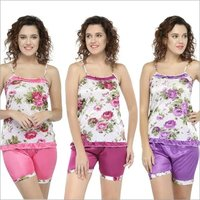 Sleeveless Floral Print & Satin Top Shorts Set Loungewear Nightwear