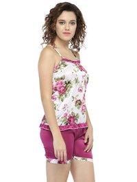 Sleeveless Floral Print & Satin Top Shorts Set Loungewear Nightwear