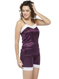 Sleeveless Plain Satin Lace Top Shorts Set Loungewear Nightwear