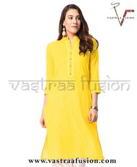 Ladies Solid Neck Embroidered Cotton Kurti