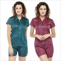 Short Sleeves Polka Dot & Satin Top Shorts Set Loungewear Nightwear