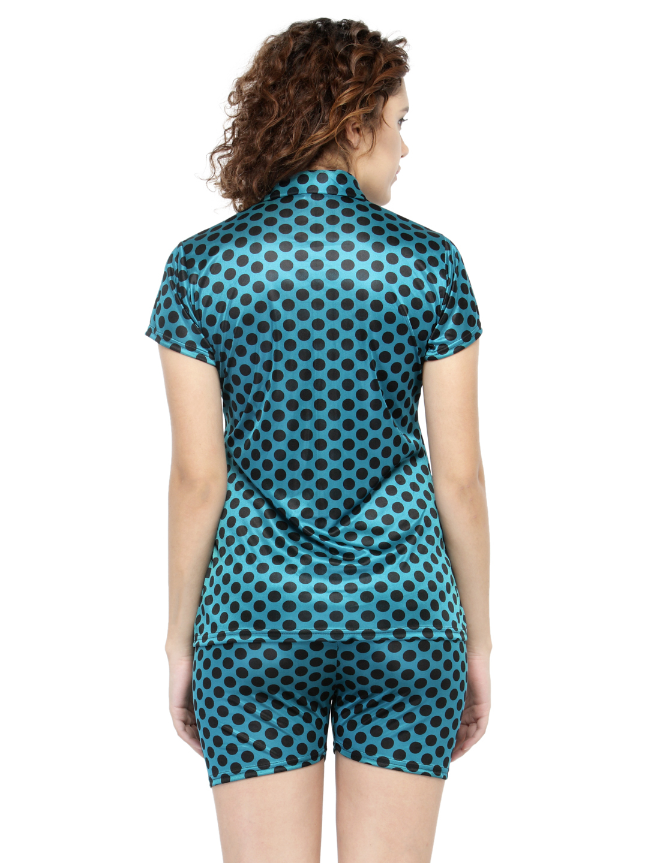 Short Sleeves Polka Dot & Satin Top Shorts Set Loungewear Nightwear