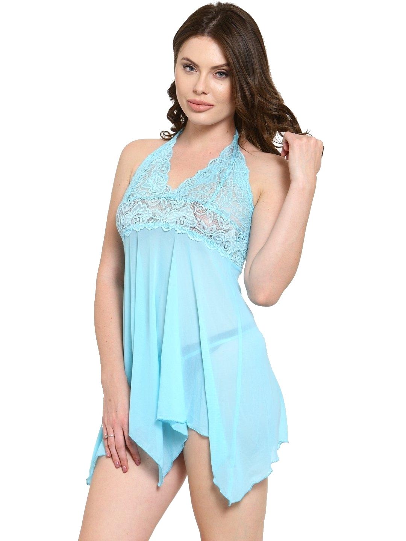 Asymmetrical Sheer Babydoll Night Dress Nightwear with G-String