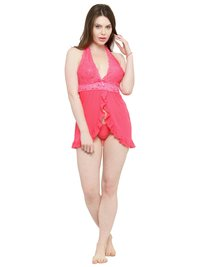 Open Front Ruffle Sheer Babydoll Night Dress Nightwear