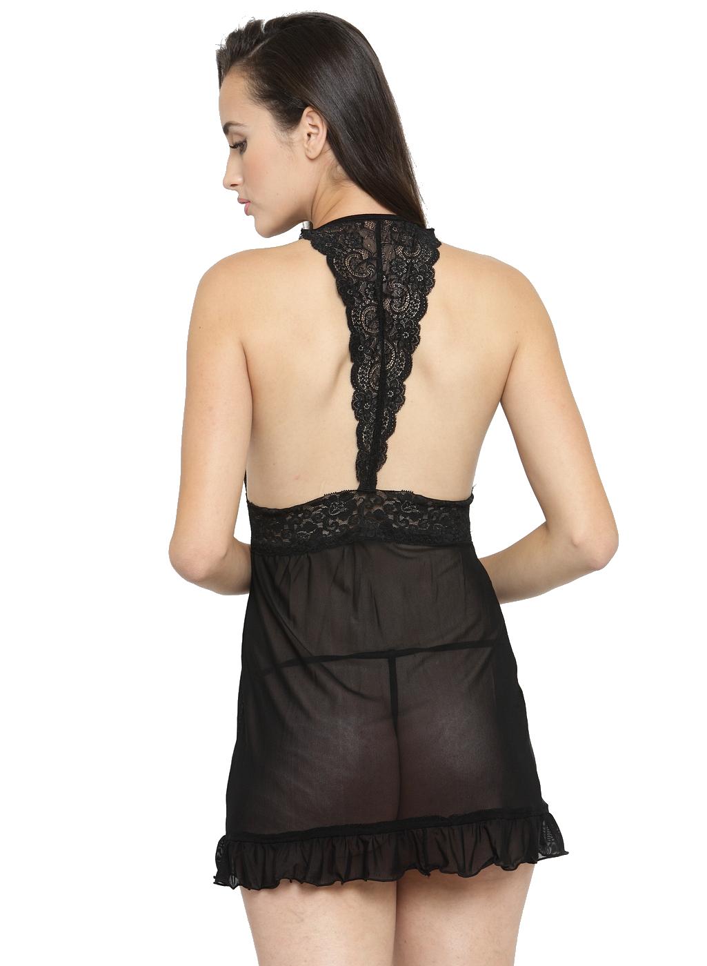 Open Front Ruffle Sheer Babydoll Night Dress Nightwear