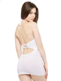 Polyester Deep V-Neck Lace Babydoll Night Dress Nightwear with G-String