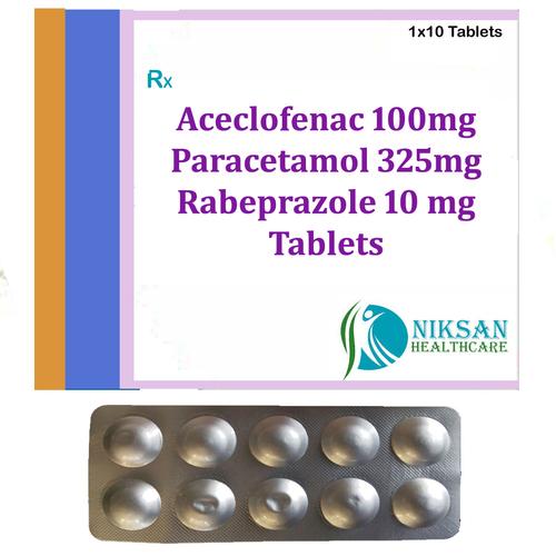 Aceclofenac 100mg Paracetamol 325mg Rabeprazole 10 Mg Tablets