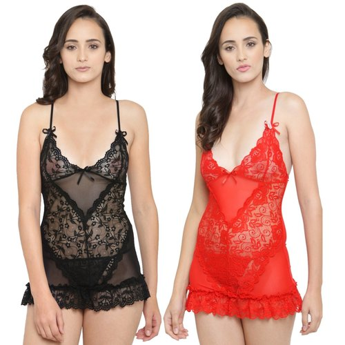 Deep Plunge Sheer Cups Lace Short Babydoll Dress Night Dress with G-String Nightwear
