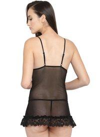Deep Plunge Sheer Cups Lace Short Babydoll Dress Night Dress with G-String Nightwear