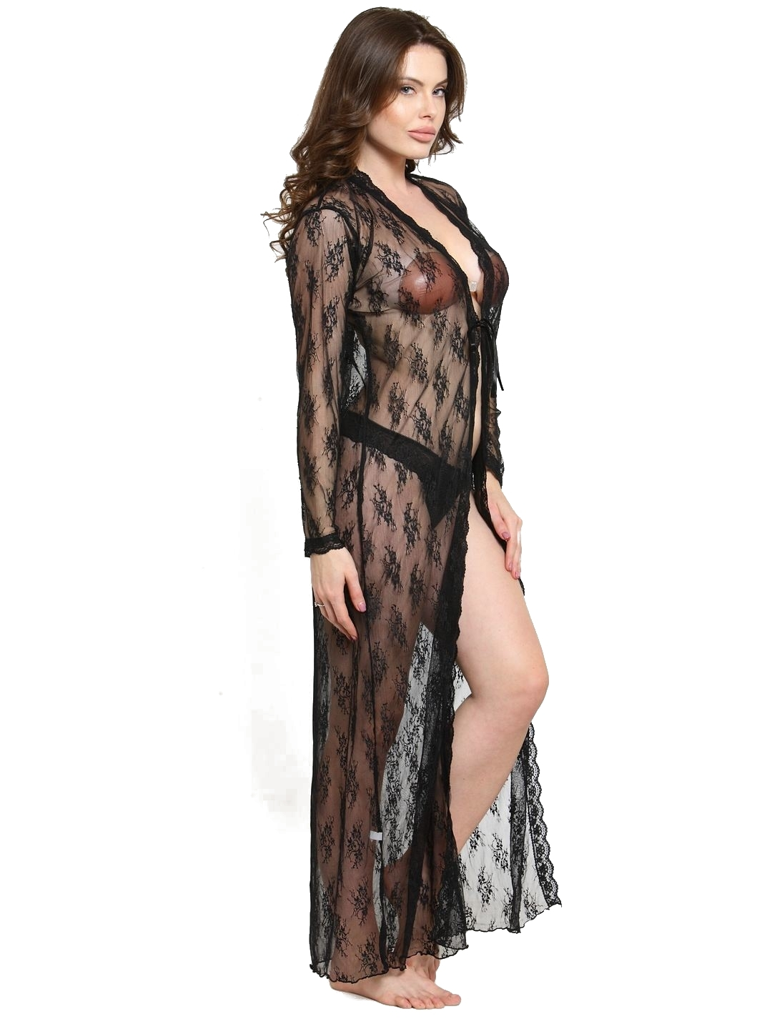 Polyester Sheer Front Slit Bridal Nightgown Nightwear with G-String