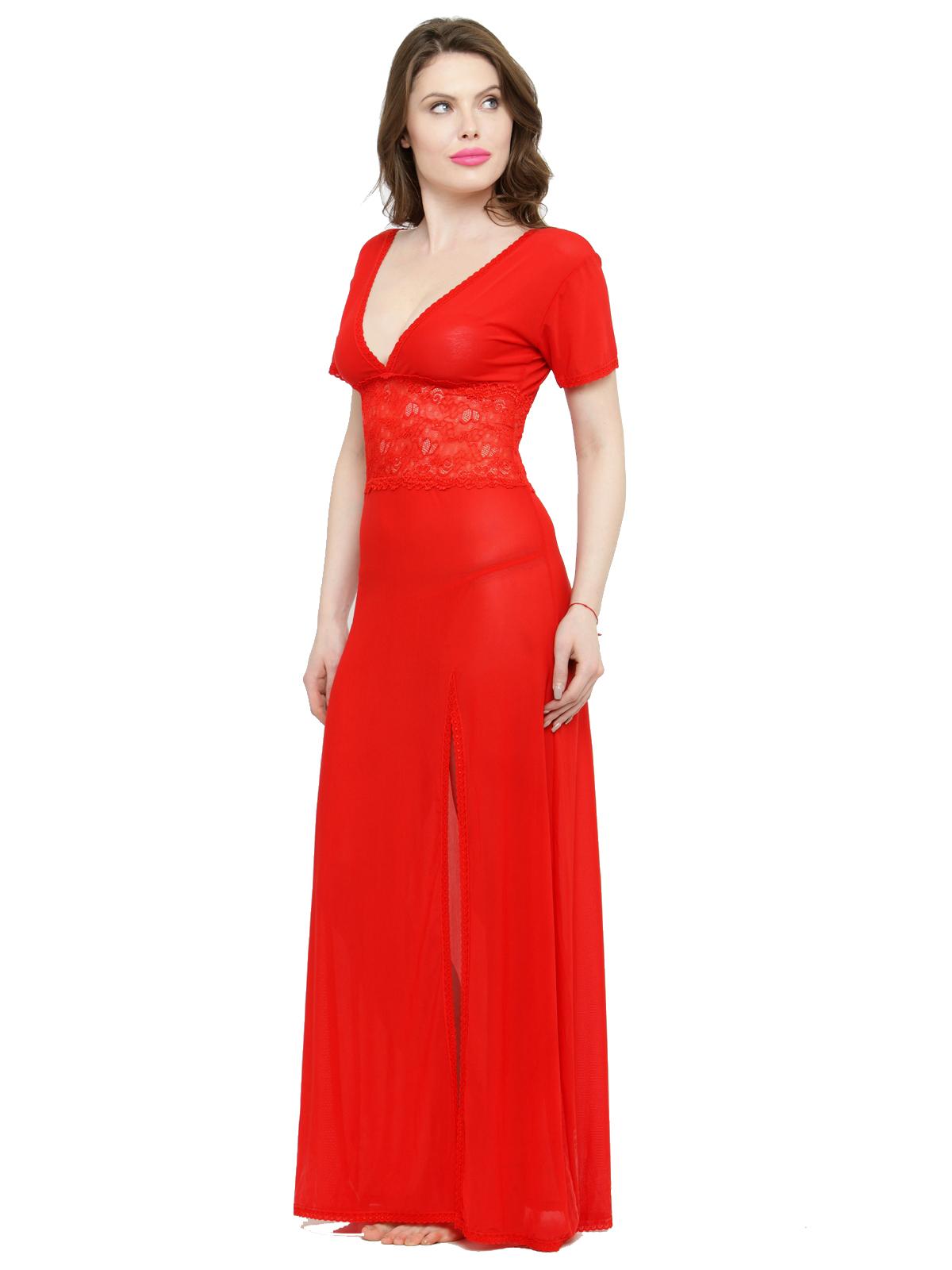 V-Neck Splicing Lace Bridal Nighty Night Dress Nightwear wit