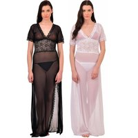 V-Neck Splicing Lace Bridal Nighty Night Dress Nightwear wit