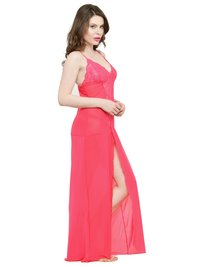 Polyester Deep Neck Rose Lace Bridal Nightgown Nightwear with G-String