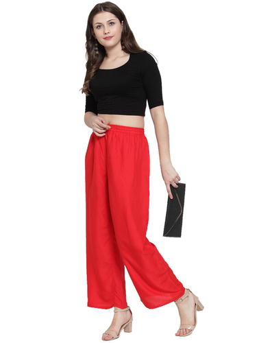 Rayon Wide Leg Elastic Waist Band Breathable Plain Palazzo Pant
