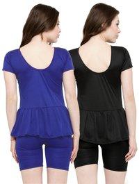 Women's Frock Style & Half Sleeves & Shorts Swimsui