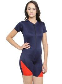 Women's Front Zip Half Sleeves & Shorts Swimsuit