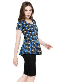 Women's Frock Style Printed Half Sleeves & Shorts Swimsuit