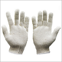 White Cotton Knitted Gloves