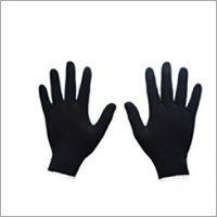 Black Cotton Knitted Gloves