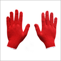 Red Cotton Knitted Gloves