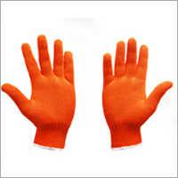 Orange Knitted Cotton Hand Gloves