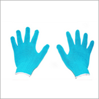 Light Sky Blue Cotton Knitted Gloves