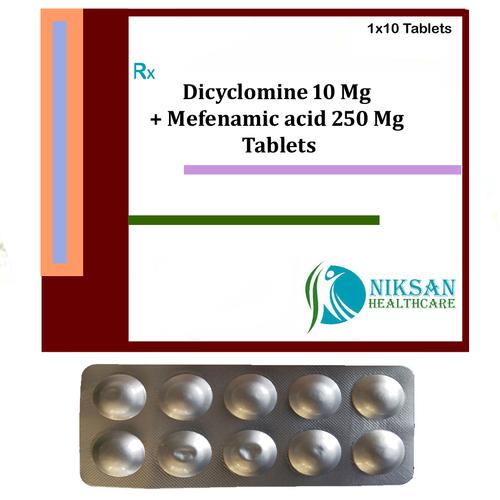 Dicyclomine 10 Mg Mefenamic Acid 250 Mg Tablets