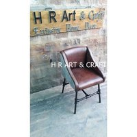 Modern Iron Base & Leather Seat Dining Chair
