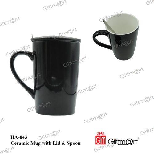 Ceramic Mug with Lid & Spoon