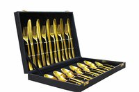 SHAHI 24pcs Luxury Gold Plated Classic Cutlery Set Dinner Spoon Knives Fork Set Stainless Steel Tableware Dinner Set:, Gold with Black Gift Box