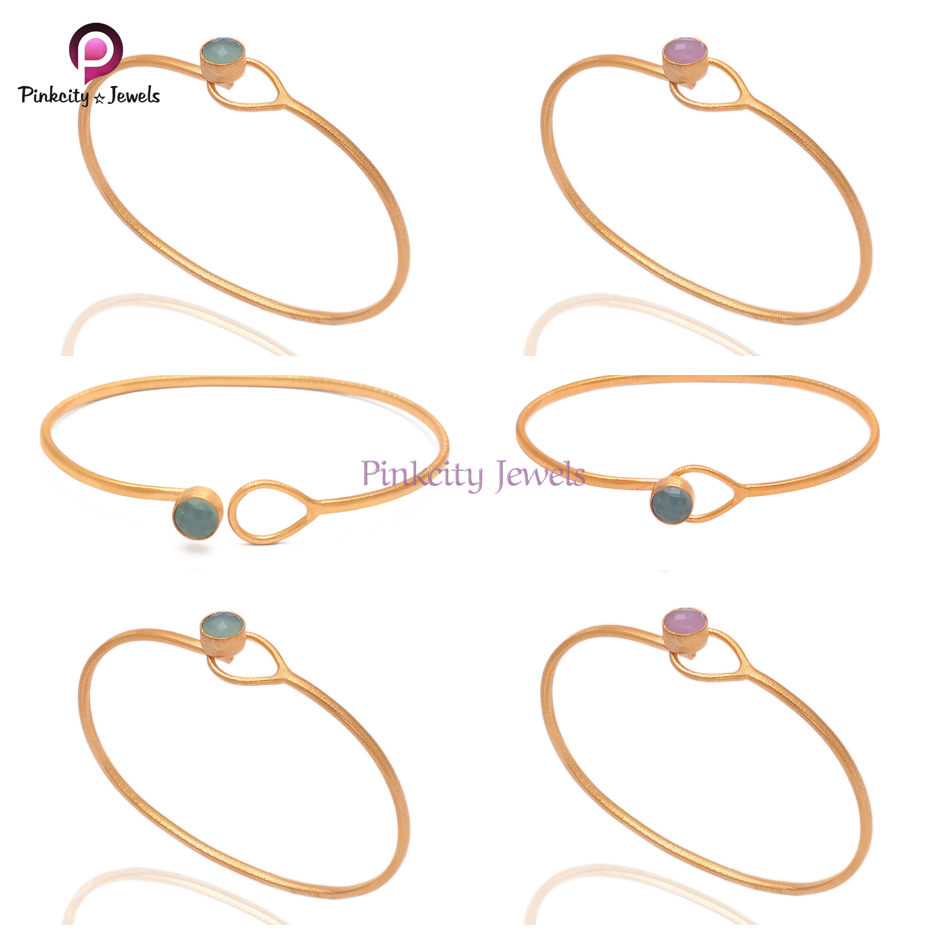 Pink Chalcedony 925 Silver Bangle
