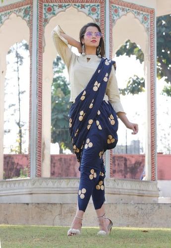 Buy White Top and Blue round Gold Printed Dhoti Set - Diwali Shopping